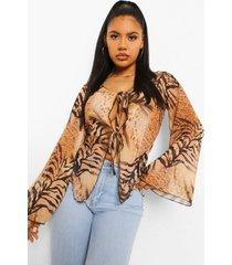 dierenprint blouse met wijde mouwen, burnt orange