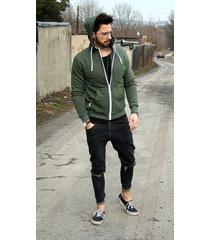 button hoodie simple bluza z kapturem khaki
