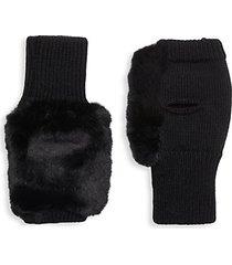 mercury faux fur wool-blend fingerless mittens
