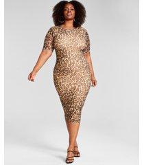 nina parker trendy plus size mesh midi dress, created for macy's