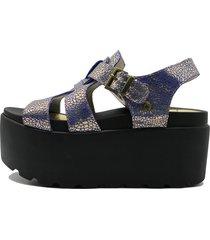 sandalia de cuero azul leblu plataforma