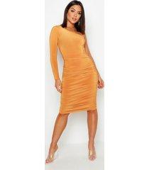 one shoulder double layer slinky midi dress, mustard