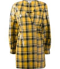 ganni check-print vinyl mini dress - yellow
