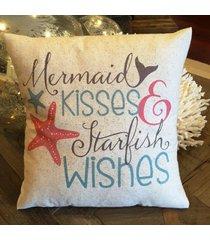 mermaid pillow, nautical, coastal summer decor, ocean, beach house, mermaid kiss