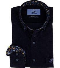 overhemd culture regular fit rib stof donkerblauw