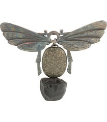 ann demeulemeester cut-out insect brooch - multicolour