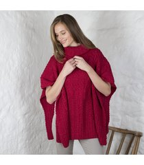 merino wool ladies cowl cape red