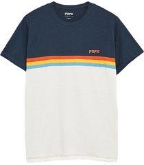 camiseta azul-blanco-naranja-amarillo pepe jeans