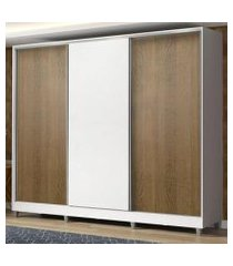 guarda roupa casal 100% mdf madesa zurique 3 portas de correr com pés - branco/rustic/branco branco