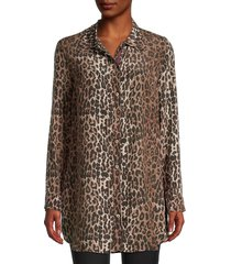 johnny was women's leopard-print silk shirt - leopard print - size m