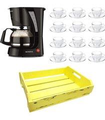 kit 1 cafeteira mondial 110v , 12 xícaras 90 ml com pires e 1 bandeja mdf amarelo