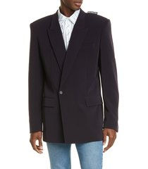 men's balenciaga '80s shoulders jacket, size 48 eu - blue