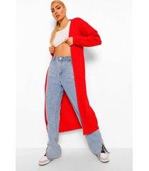 gewatteerde getailleerde jas met faux fur zoom, red