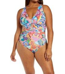 plus size women's bleu by rod beattie make pop plunge one-piece swimsuit, size 16w - pink