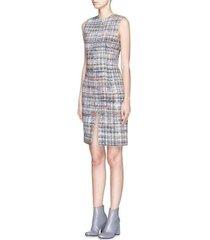 siena plaid check wool boucle dress