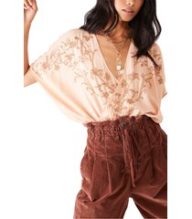 women's free people summer lover bodysuit, size small - pink