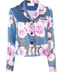 fleur du mal floral silk pajama top - blue