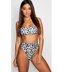 leopard high waist high cut bikini, brown
