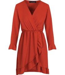 jurk met overslag terracotta
