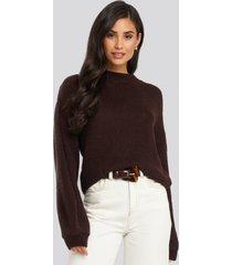 na-kd crew neck volume sleeve knitted sweater - burgundy