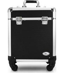 maleta profissional com rodinhas de 360º alumínio jacki design beauty preta