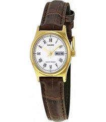 reloj casio ltp_v006gl_7bu marrón cuero