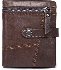 luxuniq genuine leather zipper around men short wallet with coin pocket