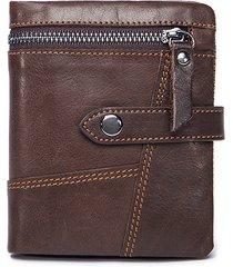 luxuniq genuine leather zipper around men short wallet with coin pocket