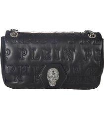 philipp plein logo quilted embellished skull shoulder bag