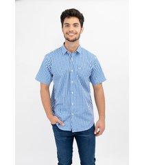 camisa azul pato pampa m corta cuadros blanco 14070 -