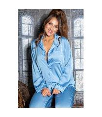 sexy satijn look pyjamas / homewear blauw