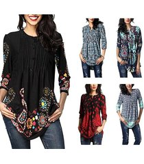 women floral printed 3/4 sleeve notch neck pintuck casual tunic loose top blouse