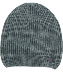 boss hugo boss ribbed-knit beanie hat - green