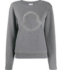 moncler beaded logo sweatshirt - grey