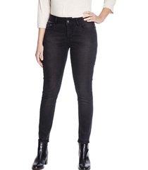 jeans pierna pitillo liso negro curvi