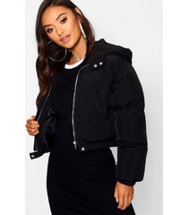 petite hooded crop padded coat, black
