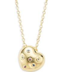 14k yellow gold gemstone heart pendant necklace