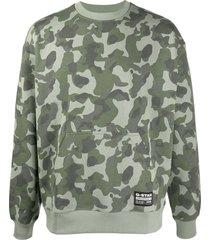 g-star raw brush camouflage sweater - green