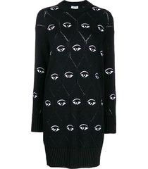 kenzo eye logo jumper dress - black