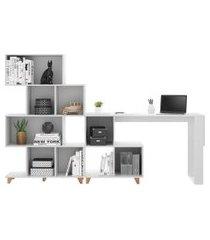conjunto mesa e estante be mobiliário aurora branco