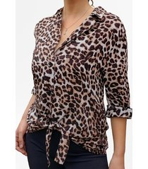 blusa animal print cafe mlk
