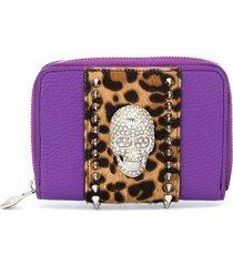 philipp plein crystal skull small wallet - purple