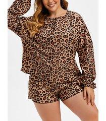 plus size leopard henley drop shoulder fleece pajama shorts set