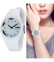 reloj silicona dama moda skmei ultra delgado color blanco