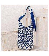 cotton bucket bag, 'indigo and white rhombi' (guatemala)