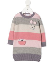 il gufo wide stripes knitted dress - pink