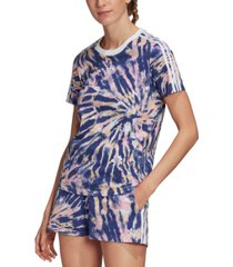 adidas originals women's classic 3-stripes tie-dye t-shirt