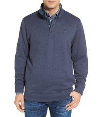men's travis mathew 'wall' mock neck pullover, size small - blue