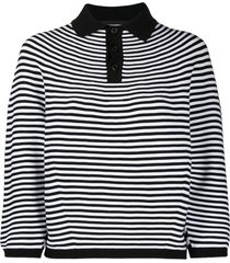 dsquared2 horizontal striped knitted top - black