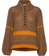 dolly high neck knit turtleneck polotröja brun just female